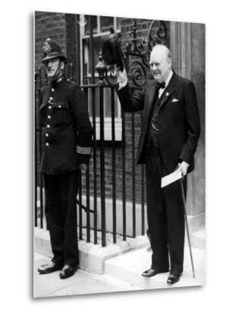 British Prime Minister Winston Churchill Doffing Hat Outside of 10 Downing St--Metal Print