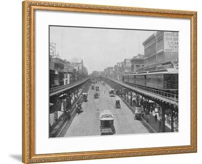 Manhattan Elevated Railway Running on Tracks Constructed Alongside the Bowery--Framed Photographic Print