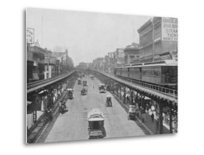 Manhattan Elevated Railway Running on Tracks Constructed Alongside the Bowery--Metal Print