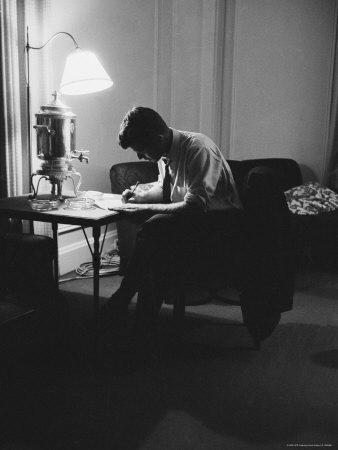 Presidential Candidate John F. Kennedy Makes Last Minute Notes in at Democratic National Convention-Hank Walker-Framed Photographic Print