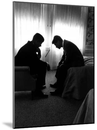 Jack Kennedy Conferring with His Brother and Campaign Organizer Bobby Kennedy in Hotel Suite-Hank Walker-Mounted Premium Photographic Print