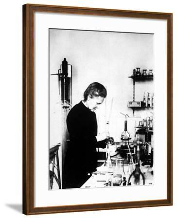 Chemist Marie Curie at Work in Her Laboratory--Framed Premium Photographic Print