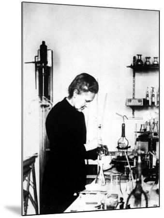 Chemist Marie Curie at Work in Her Laboratory--Mounted Premium Photographic Print
