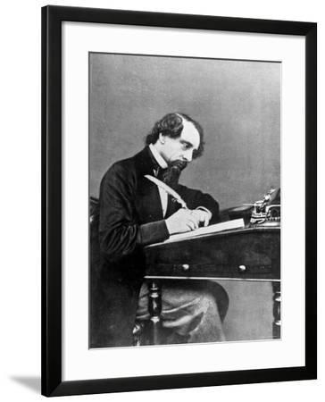 Prolific English Novelist Charles Dickens Seated Writing with a Quill Pen--Framed Premium Photographic Print