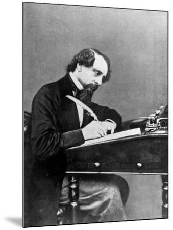 Prolific English Novelist Charles Dickens Seated Writing with a Quill Pen--Mounted Premium Photographic Print
