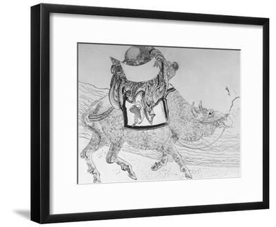 Drawing by Japanese Artist Hokusai of Chinese Philosopher Lao Tse, Founder of Taoism--Framed Photographic Print