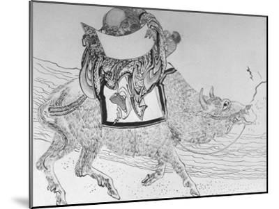Drawing by Japanese Artist Hokusai of Chinese Philosopher Lao Tse, Founder of Taoism--Mounted Photographic Print