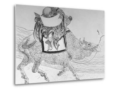 Drawing by Japanese Artist Hokusai of Chinese Philosopher Lao Tse, Founder of Taoism--Metal Print