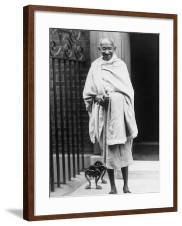 Hindu Nationalist Leader Mohandas Gandhi Standing Outside 10 Downing Street--Framed Premium Photographic Print