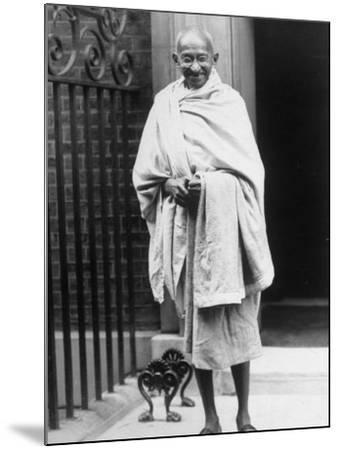 Hindu Nationalist Leader Mohandas Gandhi Standing Outside 10 Downing Street--Mounted Premium Photographic Print
