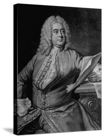 Mezzotint Engraving Based on Painted Portrait of Composer George Frideric Handel--Stretched Canvas Print