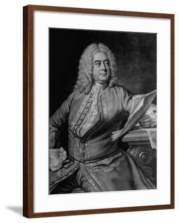 Mezzotint Engraving Based on Painted Portrait of Composer George Frideric Handel--Framed Photographic Print
