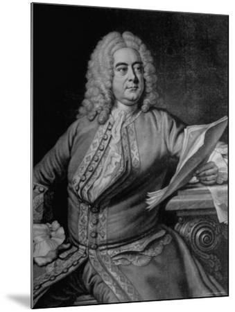 Mezzotint Engraving Based on Painted Portrait of Composer George Frideric Handel--Mounted Photographic Print