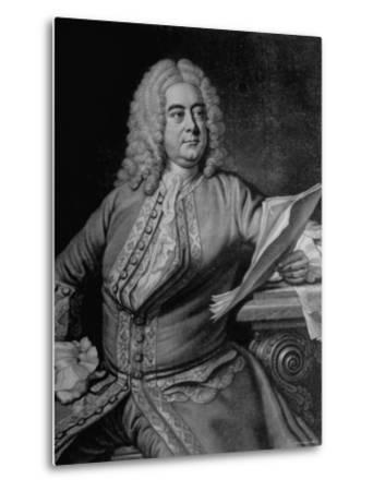 Mezzotint Engraving Based on Painted Portrait of Composer George Frideric Handel--Metal Print