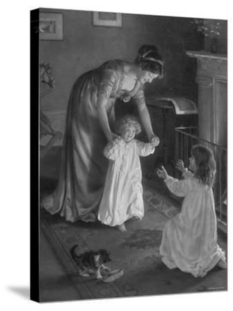 Mother with Daughters in Nightgowns, Helping Younger One Take Her First Steps--Stretched Canvas Print