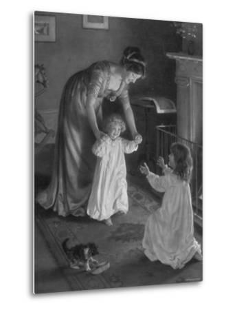 Mother with Daughters in Nightgowns, Helping Younger One Take Her First Steps--Metal Print