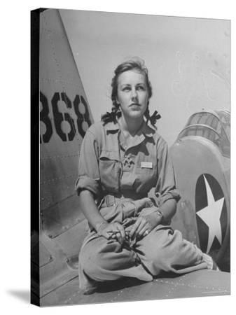 Shirley Slade Pilot Trainee in Women's Flying Training Detachment, Sporting Pigtails, GI Coveralls-Peter Stackpole-Stretched Canvas Print