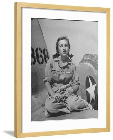 Shirley Slade Pilot Trainee in Women's Flying Training Detachment, Sporting Pigtails, GI Coveralls-Peter Stackpole-Framed Photographic Print