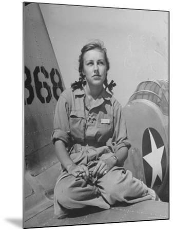 Shirley Slade Pilot Trainee in Women's Flying Training Detachment, Sporting Pigtails, GI Coveralls-Peter Stackpole-Mounted Photographic Print