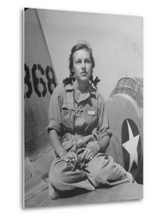 Shirley Slade Pilot Trainee in Women's Flying Training Detachment, Sporting Pigtails, GI Coveralls-Peter Stackpole-Metal Print