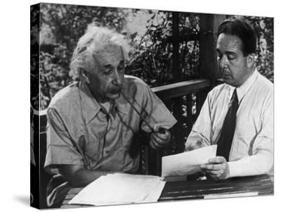 Albert Einstein, Leo Szilard Reenacting Signing Letter to Pres. Roosevelt Warning about Atomic Bomb--Stretched Canvas Print