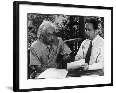 Albert Einstein, Leo Szilard Reenacting Signing Letter to Pres. Roosevelt Warning about Atomic Bomb--Framed Premium Photographic Print