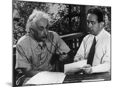 Albert Einstein, Leo Szilard Reenacting Signing Letter to Pres. Roosevelt Warning about Atomic Bomb--Mounted Premium Photographic Print