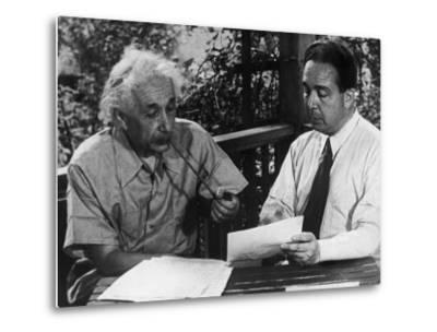 Albert Einstein, Leo Szilard Reenacting Signing Letter to Pres. Roosevelt Warning about Atomic Bomb--Metal Print