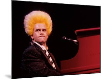 Elton John Performing, Wearing Wig--Mounted Premium Photographic Print