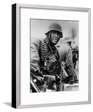 Captured Photo Shows German Ss Panzer Trooper Geared for Winter Battle During Battle of the Bulge--Framed Photographic Print