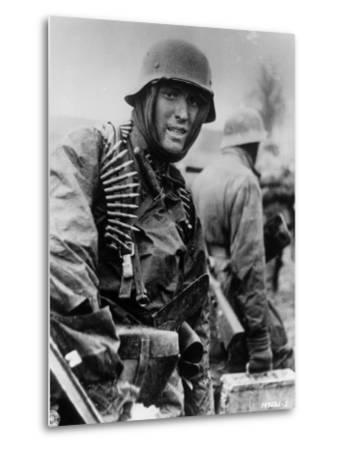 Captured Photo Shows German Ss Panzer Trooper Geared for Winter Battle During Battle of the Bulge--Metal Print