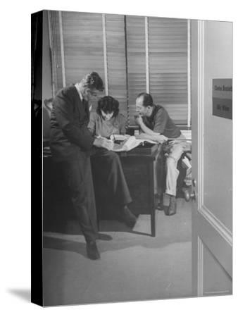 Screenwriting Team of Charles Brackett and Billy Wilder Dictating to Secretary in Paramount Office-Peter Stackpole-Stretched Canvas Print