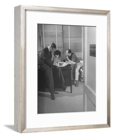Screenwriting Team of Charles Brackett and Billy Wilder Dictating to Secretary in Paramount Office-Peter Stackpole-Framed Premium Photographic Print
