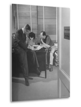 Screenwriting Team of Charles Brackett and Billy Wilder Dictating to Secretary in Paramount Office-Peter Stackpole-Metal Print