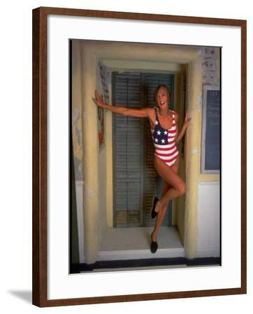 Model Standing in Doorway Modeling Ralph Lauren's Cotton and Lycra One Piece Flag Bathing Suit-Ted Thai-Framed Photographic Print
