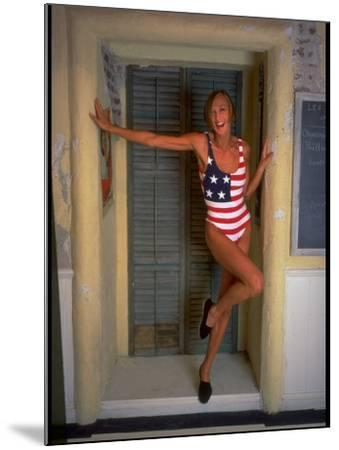 Model Standing in Doorway Modeling Ralph Lauren's Cotton and Lycra One Piece Flag Bathing Suit-Ted Thai-Mounted Photographic Print