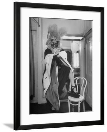 Soprano Patrice Munsel Costumed as Notary for Cosi Fan Tutte, Pulling onGloves in Dressing Room-Peter Stackpole-Framed Premium Photographic Print