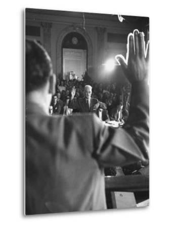 Sen. Joseph McCarthy Swearing in Hearing on Communisn where Hammet Suspected of Being a Communist-Hank Walker-Metal Print