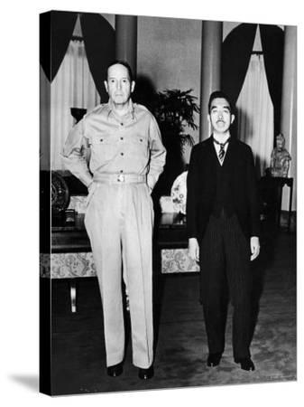 Emperor Hirohito Next to Gen. Douglas Macarthur During Precedent Shattering Visit to US Embassy--Stretched Canvas Print