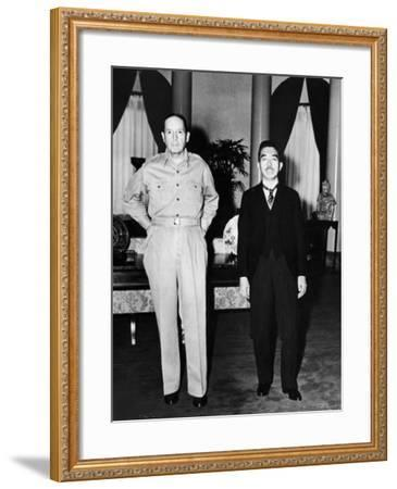Emperor Hirohito Next to Gen. Douglas Macarthur During Precedent Shattering Visit to US Embassy--Framed Premium Photographic Print