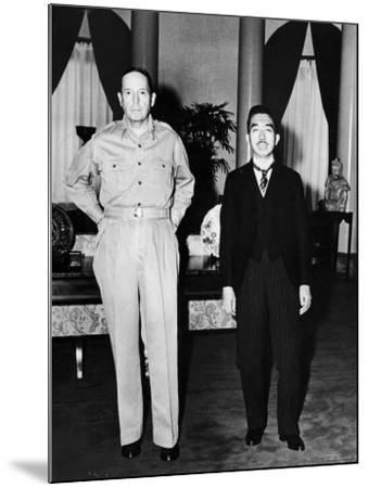 Emperor Hirohito Next to Gen. Douglas Macarthur During Precedent Shattering Visit to US Embassy--Mounted Premium Photographic Print