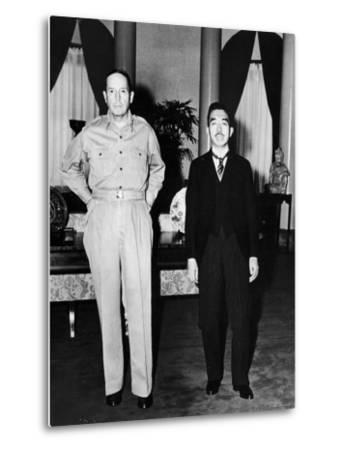 Emperor Hirohito Next to Gen. Douglas Macarthur During Precedent Shattering Visit to US Embassy--Metal Print