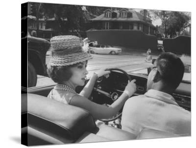Gina Lollobrigida Taking a Driving Lesson-Peter Stackpole-Stretched Canvas Print