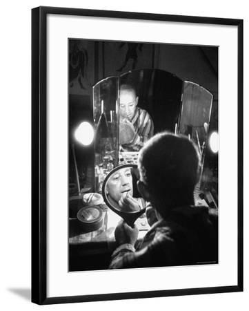Alec Guiness Putting on His Make Up in Dressing Room at the Stratford Shakespeare Festival-Peter Stackpole-Framed Premium Photographic Print