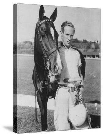 Leslie Howard in Riding Gear at Racetrack--Stretched Canvas Print