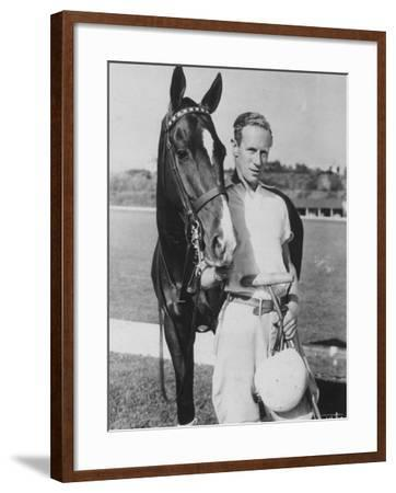 Leslie Howard in Riding Gear at Racetrack--Framed Premium Photographic Print