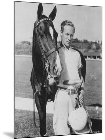 Leslie Howard in Riding Gear at Racetrack--Mounted Premium Photographic Print
