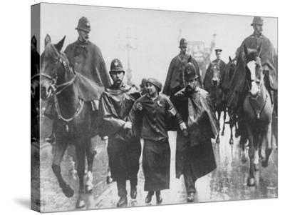 Miss Sylvia Pankhurst Taken Into Custody by Policemen During Women's Suffrage Protest--Stretched Canvas Print