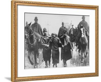 Miss Sylvia Pankhurst Taken Into Custody by Policemen During Women's Suffrage Protest--Framed Premium Photographic Print