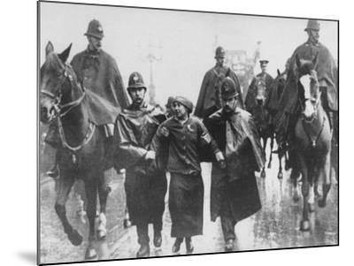 Miss Sylvia Pankhurst Taken Into Custody by Policemen During Women's Suffrage Protest--Mounted Premium Photographic Print